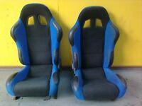 BLACK & BLUE RECLINING BUCKET SPORT, TUNING CAR SEATS
