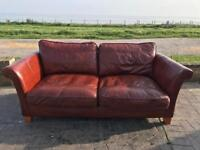 Real leather 3 seater brown sofa