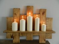 Solid Handmade Pallet Wood Shelf with Candles, finished in Dark Oak Beeswax.