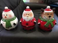 Set of 3 ceramic Christmas tealight holders