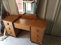 Lovely solid Vintage Dressing Table with mirror. Lots of drawers for storage.