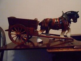 vintage large ceramic shire horse and wooden cart. circa 1960s.