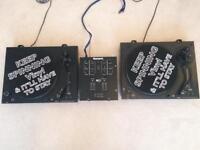 2x SoundLab DL-P3 DJ turntables with Numark mixer.