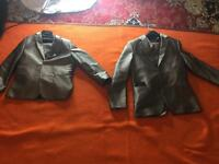 2 shiny grey suits