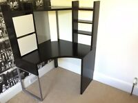 Black corner desk, good condition. From the Ikea Micke range. Ideal for a small bedroom or study
