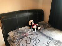 King size black leather bed frame for sale!