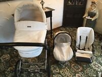 White prestige babystyle 3 in 1 pram