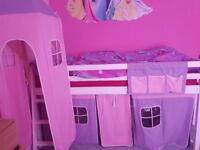 White Cabin bed with Mattress
