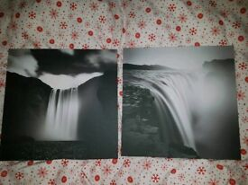 Set of two waterfall canvases