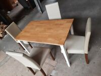 Wooden Dining Table Two Tone and 4 Cream Chairs