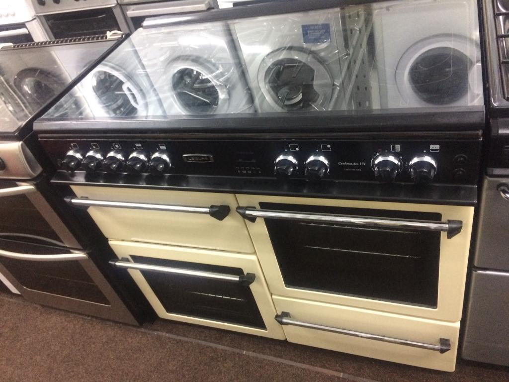 Black & cream leisure 100cm gas cooker grill & double ovens with ceramic hub good condition