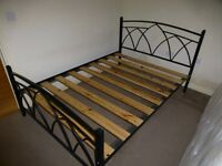 Double Bed - Metal frame with slats & mattress