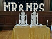 His & Hers white throne chairs £100. Hire