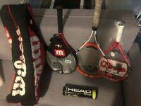 3 tennis rackets, 4 head balls and old Wilson bag