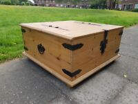LOCAL DELIVERY Large storage coffee table trunk chest double opening rustic pine shabby chic