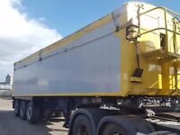 2009 fruehauf 3 axle plank sided 64 cubic yard bulk tipper eletric sheet and weigher ex plc