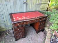 Antique style Mahogany red leather top twin pedestal writing desk
