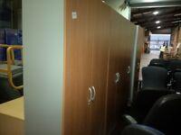 3x 7ft 2 door cupboards in beech with walnut doors and keys only £95.00 each