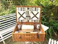Luxury 4 Person Wicker unused Picnic Hamper from John Lewis RRP £175