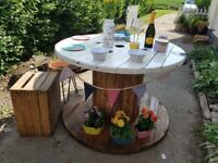 Beautiful Upcycled Family Table made out of Cable Drum, distressed and treated in Yacht Varnish