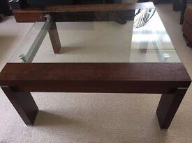 designer solid wood/glass/metal coffee table
