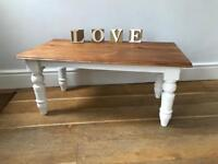 Decorative low pine coffee table