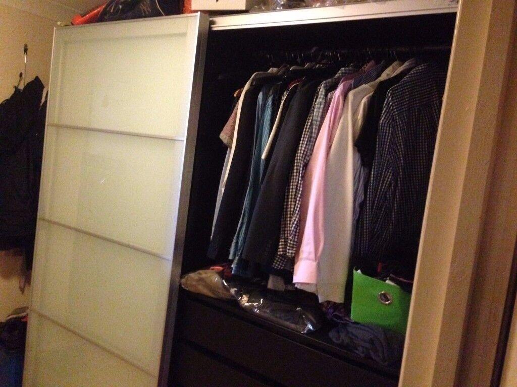 IKEA PAX wardrobe 200 x 200 with sliding doors, shelfs, clothes rails & drawers
