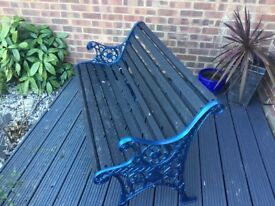 Refurbished wrought iron bench metallic blue black slats very heavy
