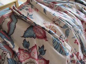 Vintage lined curtains suit large windows duck egg and pink on ivory may deliver, offers accepted