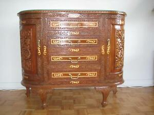Buffet Commode Marqueterie Bois Rose Rosewood Carved Marquetry