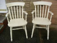 Shabby Chic Farmhouse Country Carver Chairs In Farrow & Ball Cream No 67