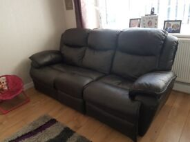 3 seater leather recliner sofa and chair