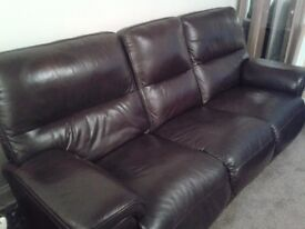 3 SEATER +2 SEATER BROWN LEATHER SUITE FOR SALE
