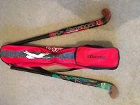 Slazenger hockey stick carry bag including 2 used Slazenger 36inch hockey sticks