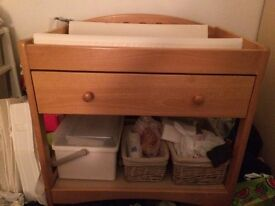 Baby changing table with draw.