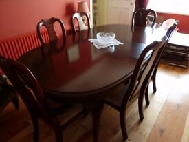 Mahogany Dining Table, Two Carvers and four dining Chairs ...