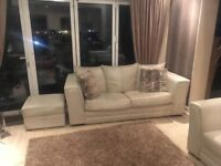 Leather cream sofa chair and storage pouffe modern design house move forces sale