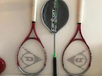 Two Dunlop Tennis Rackets and Carlton Badminton Racket