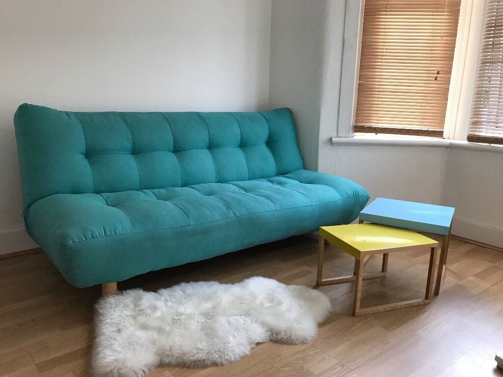 sofa bed 3 seater in turquoise blue from maisons du monde in wimbledon london gumtree. Black Bedroom Furniture Sets. Home Design Ideas
