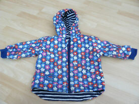 JoJo Maman Bebe Girls Reversible Waterproof Fleece Lined Rain Jacket size 18-24 mths