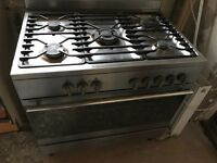 5 burners gas 900m free standing stainless steel