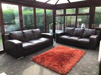 Dfs Brown Leather 2 X 3 Seater Sofas Good Condition