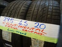 MATCHING PAIR 295 45 21 CONTINENTAL CROSS CONTACTS 6mm TREAD £100 PAIR SUP & fittd 7dys (punct £8)