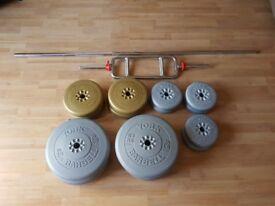 Assortment of york vinyl weights and bars
