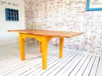 Tapered Leg Dining Table to Seat Eight People - Modern Rustic Style Extending Farmhouse