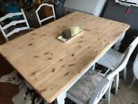 Farmhouse Dining Table and Mismatched Chairs