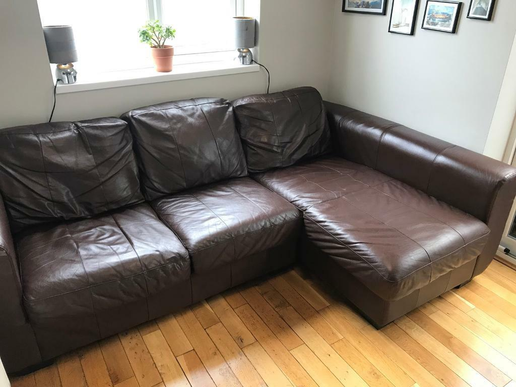 3 Seater Leather Corner Chaise Lounge Sofa Brown In