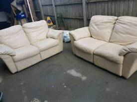 2+2 seater cream leather recliner sofa free delivery local Leicester