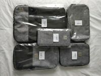 Travel Organisers - Packing Cubes and Bags for - Set of 7 - Grey - Brand New