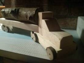 Handmade wooden lorry truck with log trailer lovely traditional christmas gift